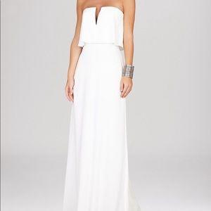 Bcbg alyse white strapless maxi gown